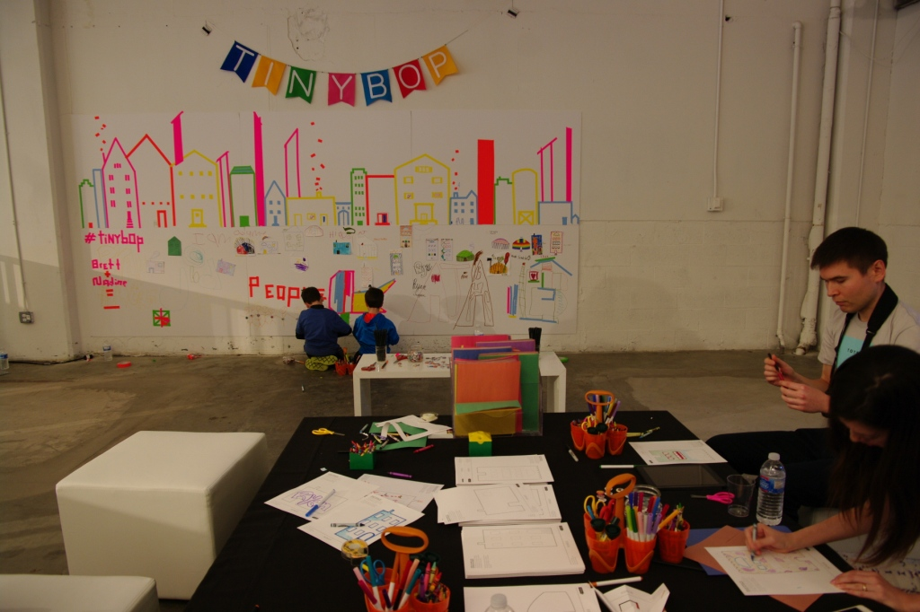 Tinybop's Wired Store space included a mural for kids to write on. Some down time featured.